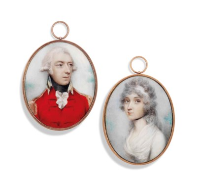 TWO PORTRAIT MINIATURES BY AND