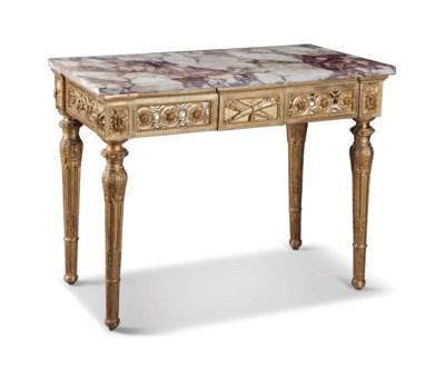 AN ITALIAN GILTWOOD SIDE TABLE