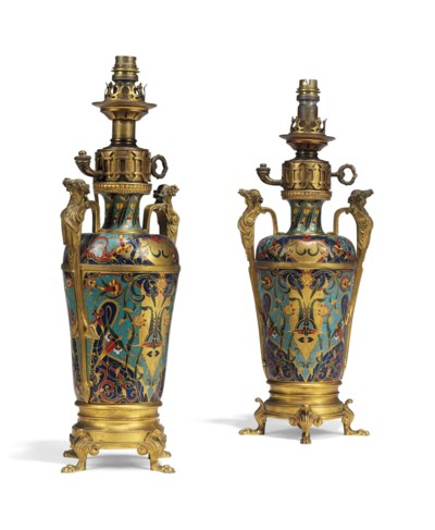 A PAIR OF FRENCH ENAMEL AND OR