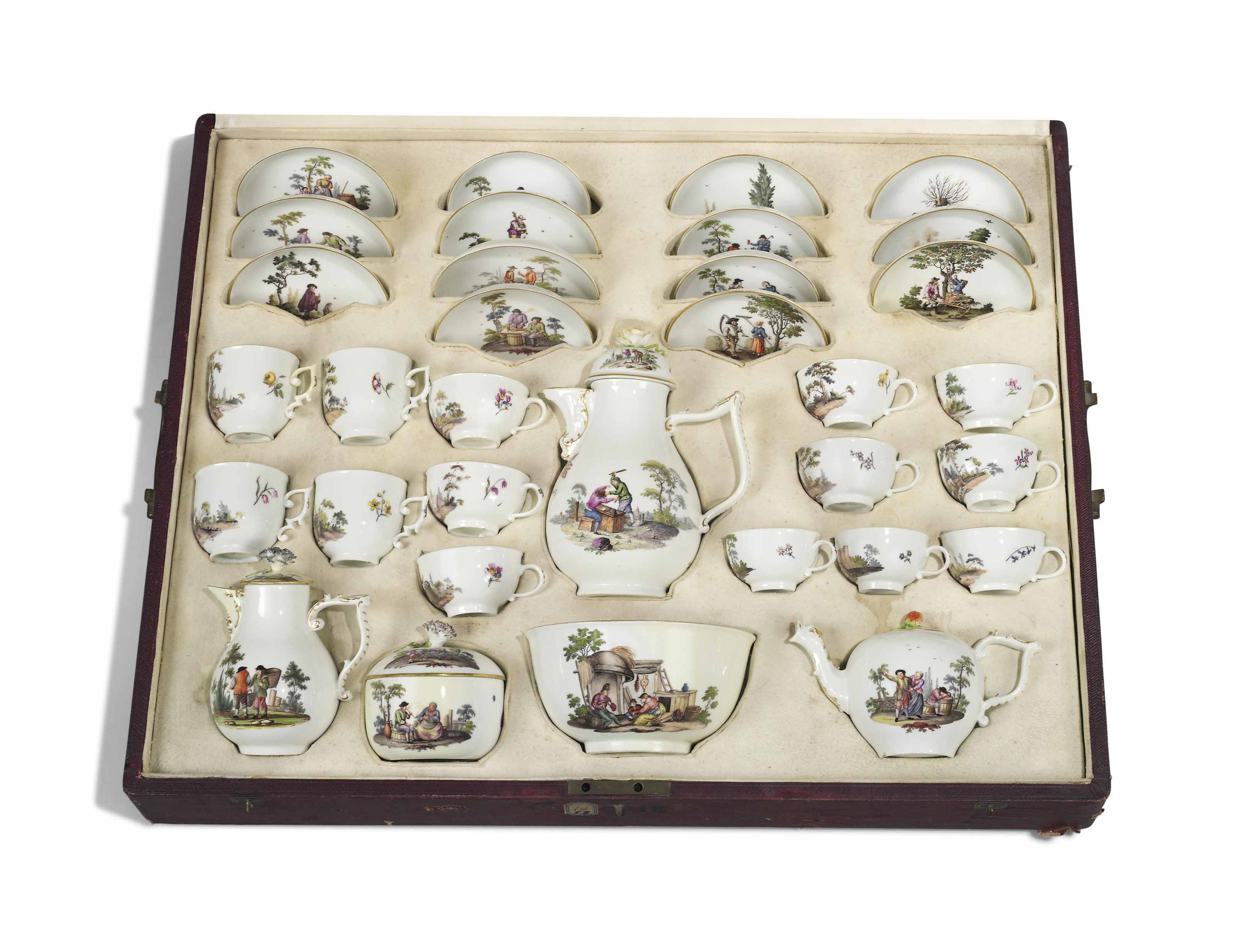 A MEISSEN CASED TEA AND COFFEE