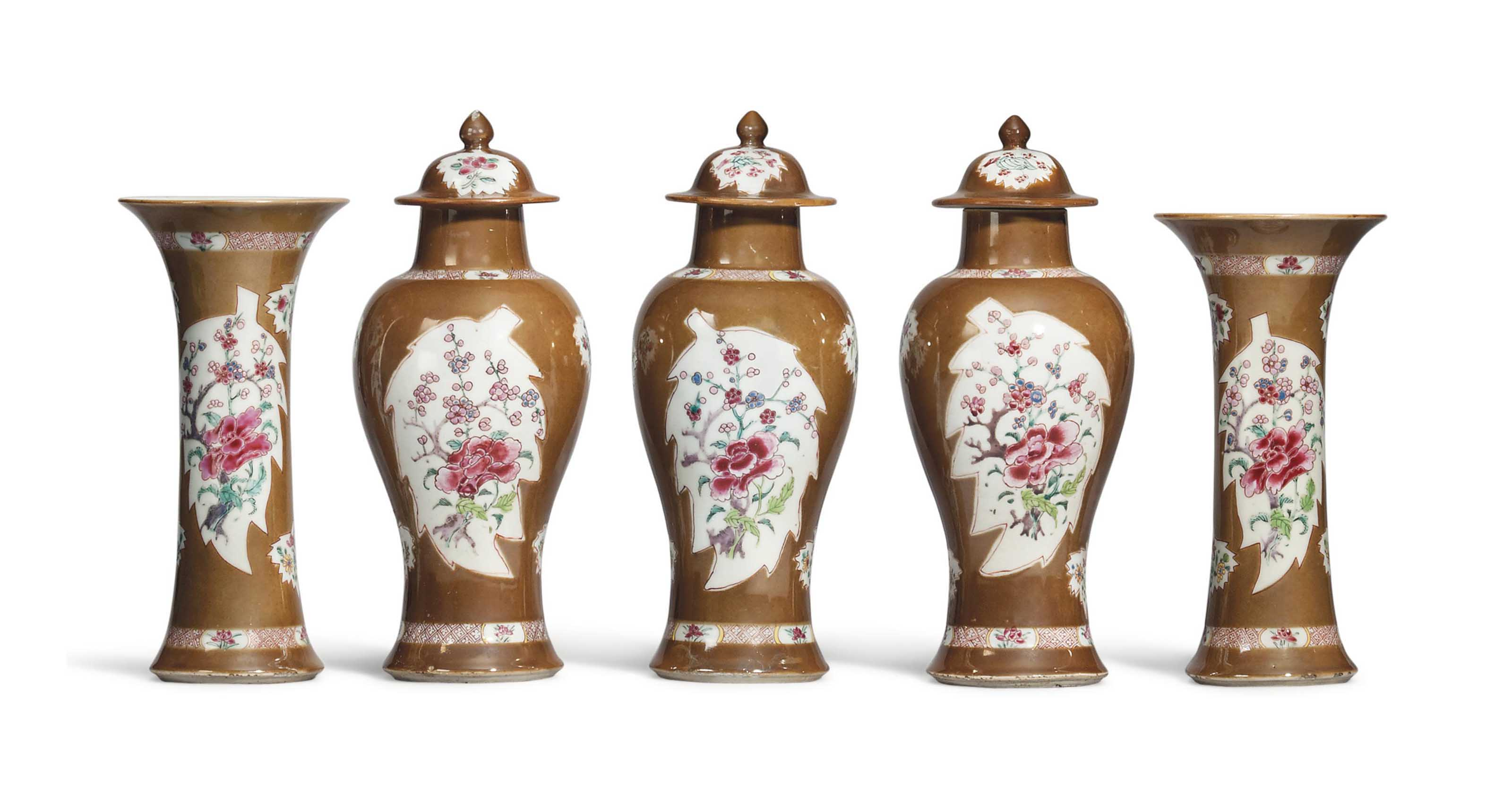 A CHINESE FAMILLE ROSE AND CAFE-AU-LAIT GROUND FIVE-PIECE GARNITURE