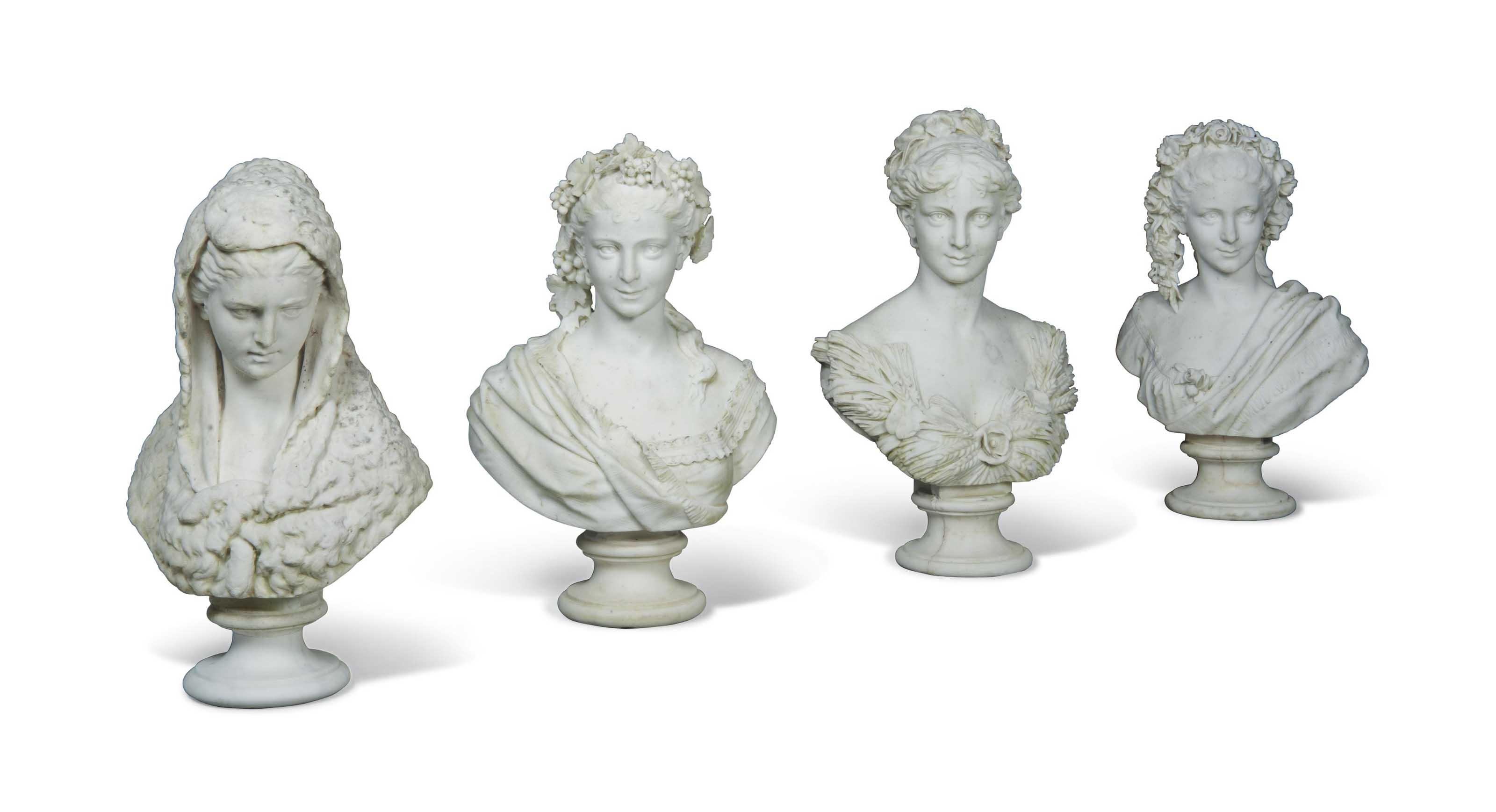 A SET OF FOUR ITALIAN CARRARA