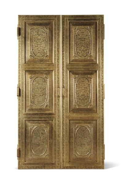 A PAIR OF INDIAN BRASS DOORS