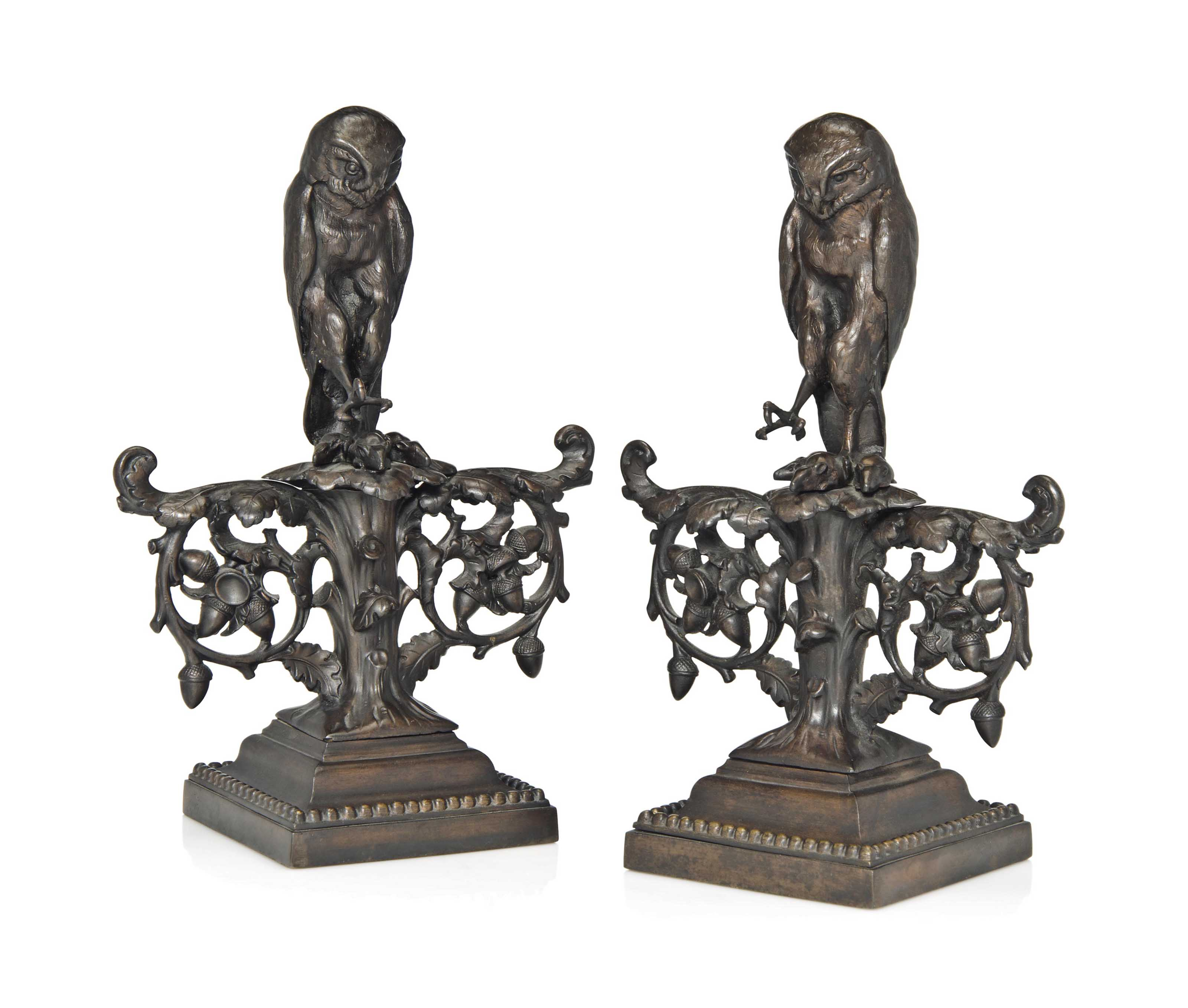 PAIR OF PATINATED CAST IRON FI