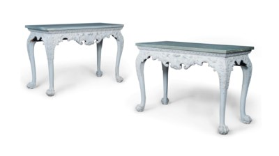 A PAIR OF WHITE-PAINTED CONSOL