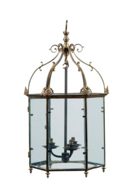 A HEXAGONAL BRASS HALL LANTERN