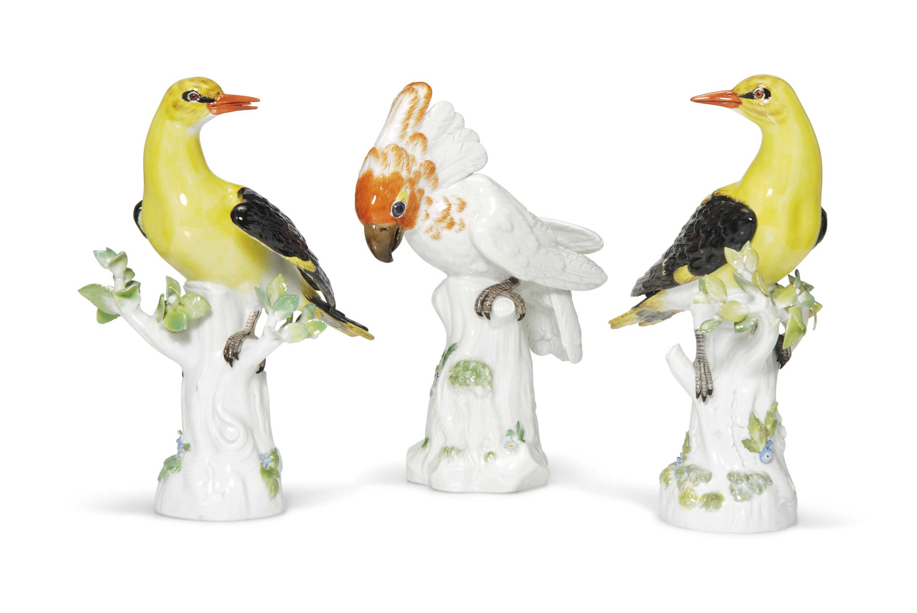 A MEISSEN MODEL OF A COCKATOO AND A PAIR OF MEISSEN GOLDEN O...