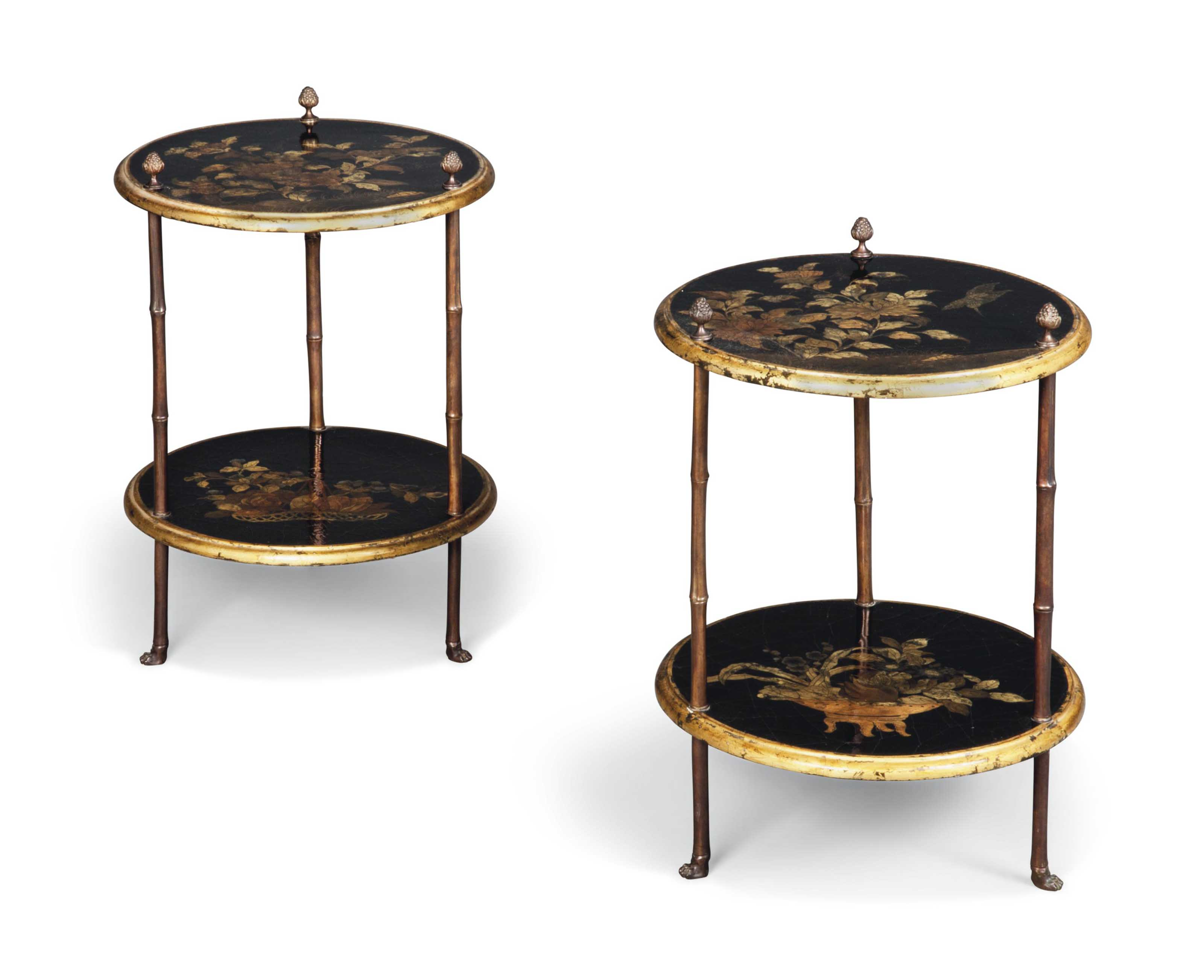 A PAIR OF GILT-JAPANNED AND BR