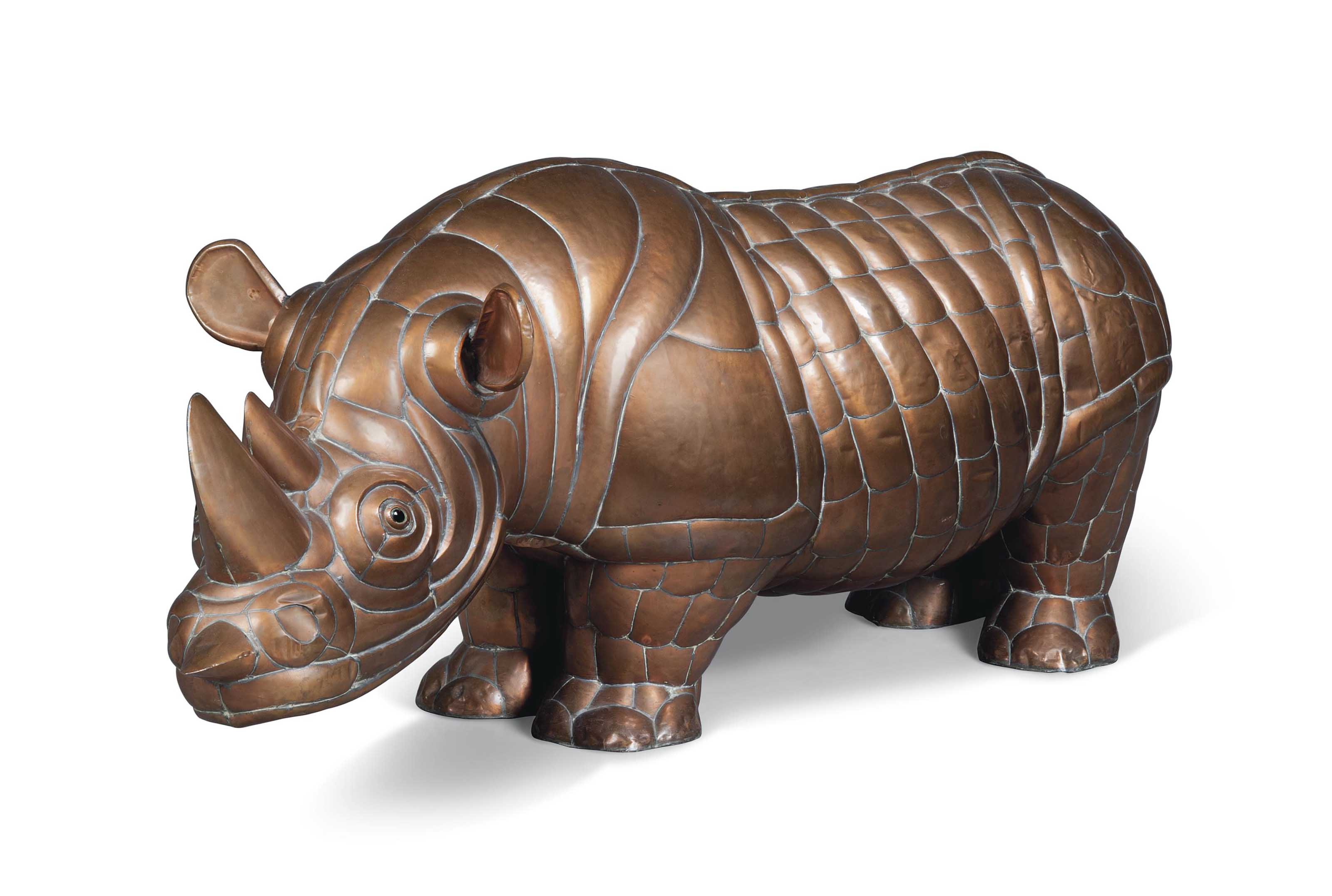 A COPPER MODEL OF A RHINOCEROS