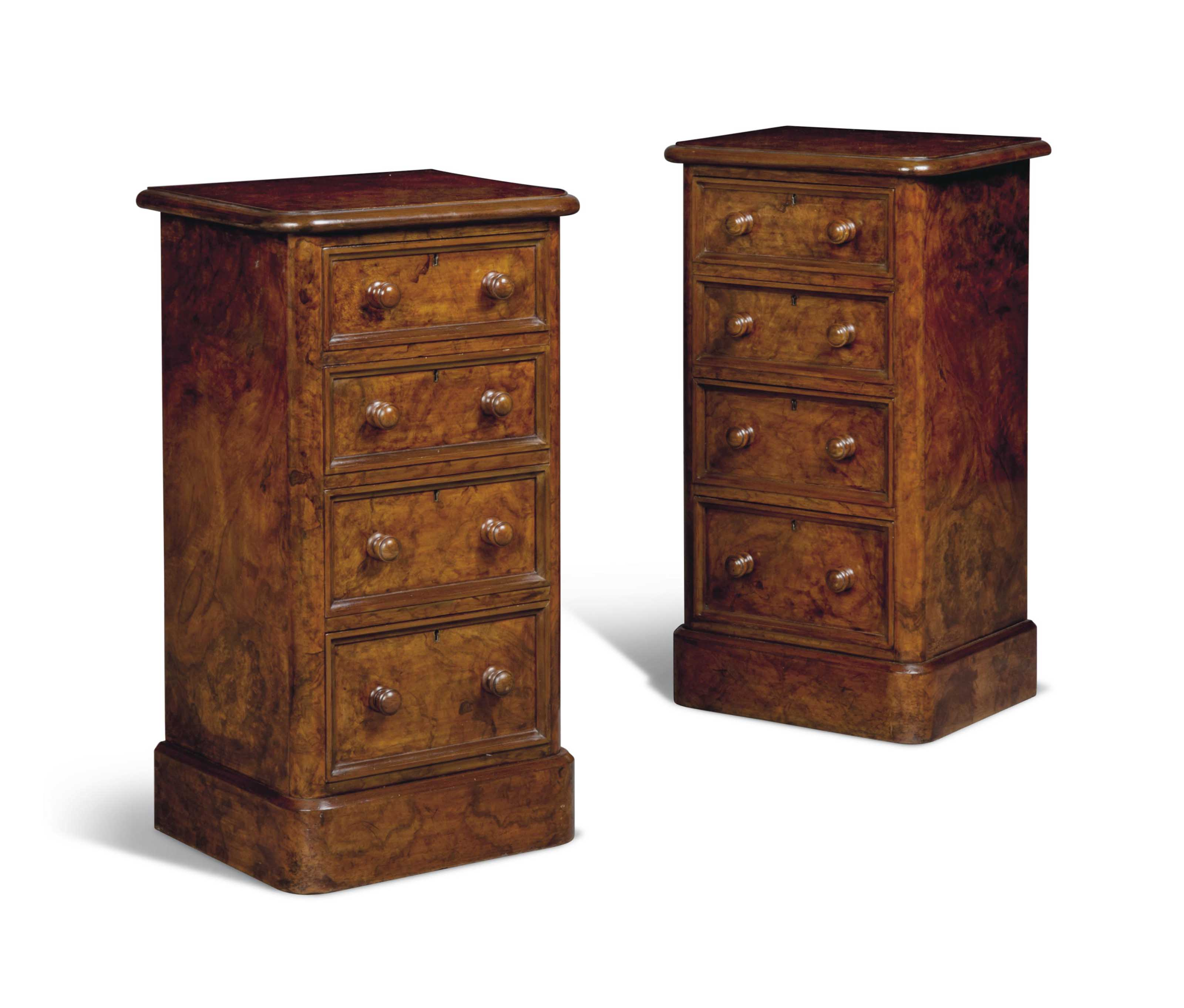 A PAIR OF BURR-WALNUT FOUR-DRA