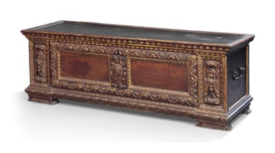 AN ITALIAN PARCEL-GILT WALNUT