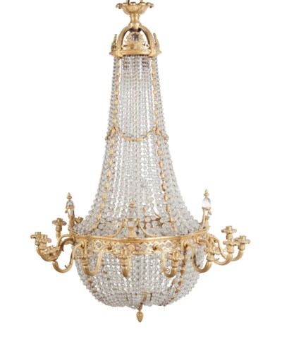 A FRENCH ORMOLU AND MOULDED GL