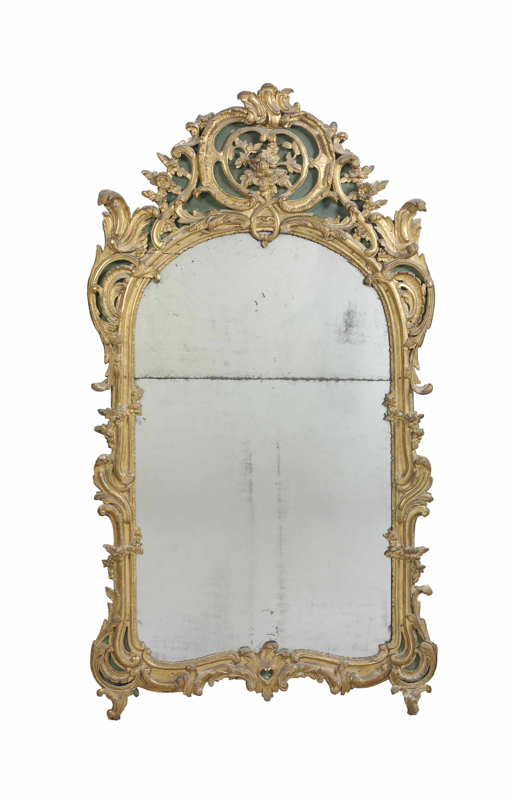 A LOUIS XV GILTWOOD AND GREEN-