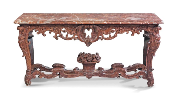 A REGENCE STAINED OAK CONSOLE