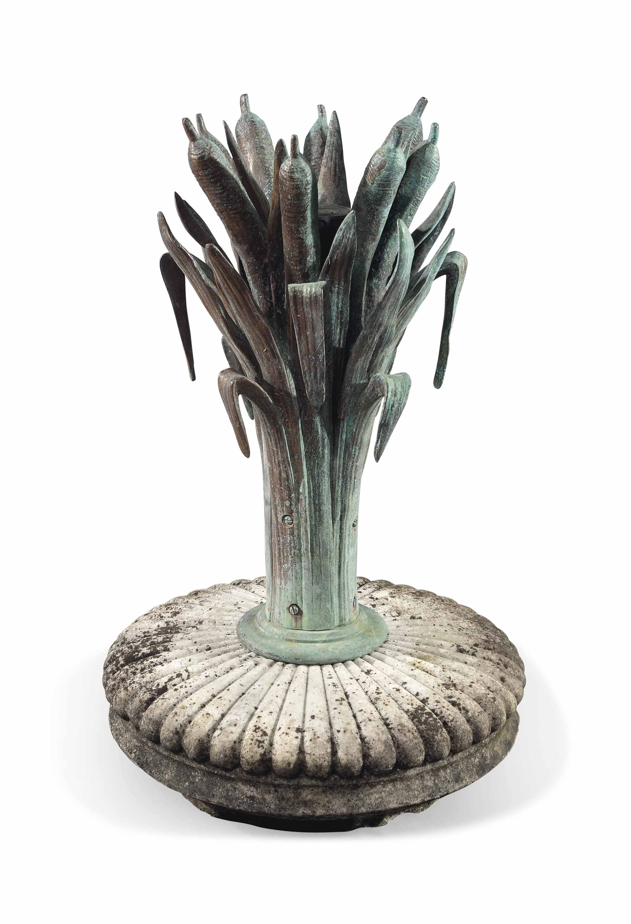 A FRENCH BRONZE WATER FOUNTAIN