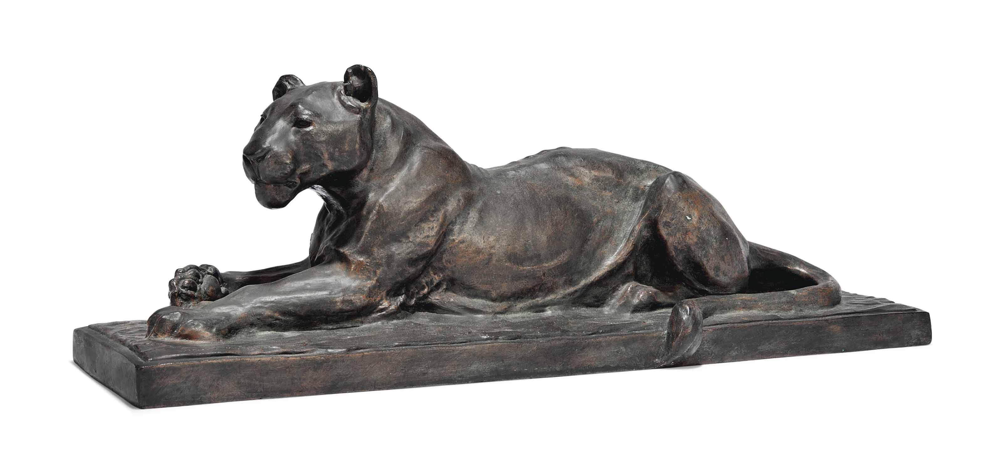 A BRONZE MODEL OF A LIONESS