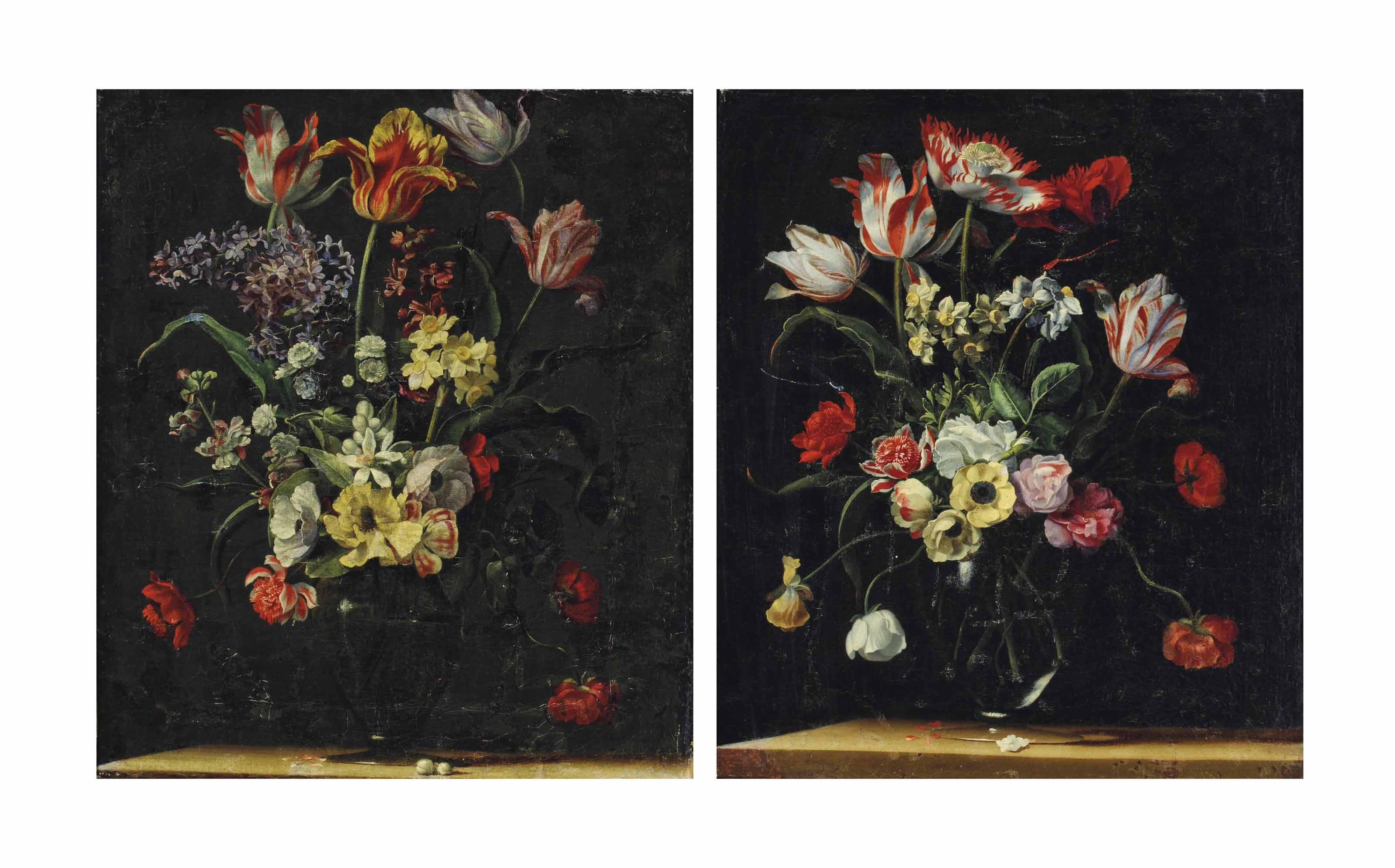Tulips, daffodils, carnations, poppies and other flowers in a glass vase on a wooden ledge; and Tulips, lilies, daffodils and other flowers in a glass vase on a wooden ledge