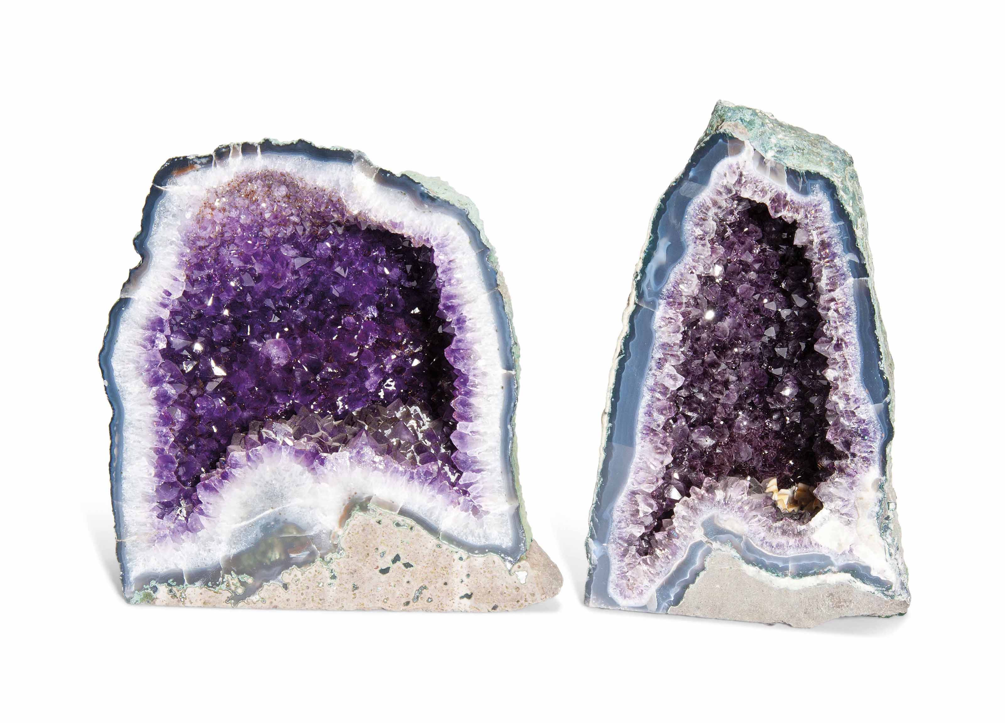 TWO AMETHYST GEODES
