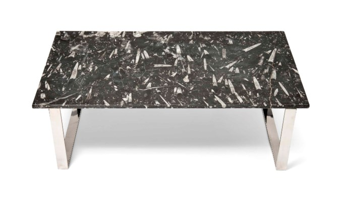 A FOSSIL PANEL TABLE TOP