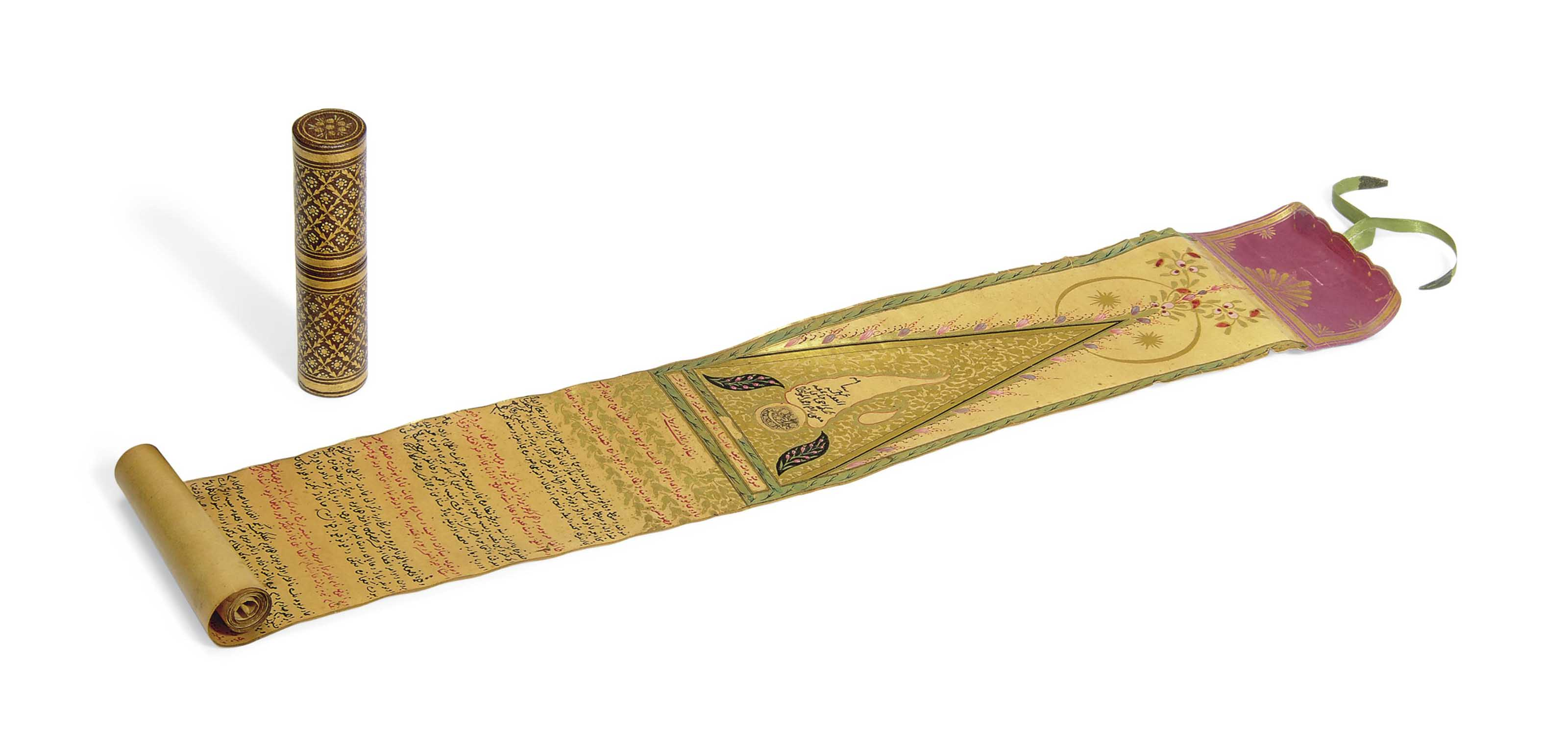 AN OTTOMAN SCROLL WITH ITS CAS