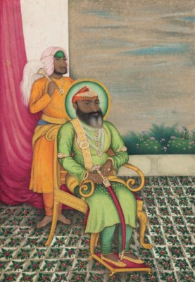 A SEATED PORTRAIT OF A SIKH RA