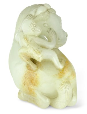 A PALE CELADON JADE 'HORSE AND