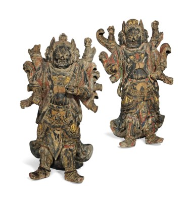 A PAIR OF POLYCHROME-DECORATED