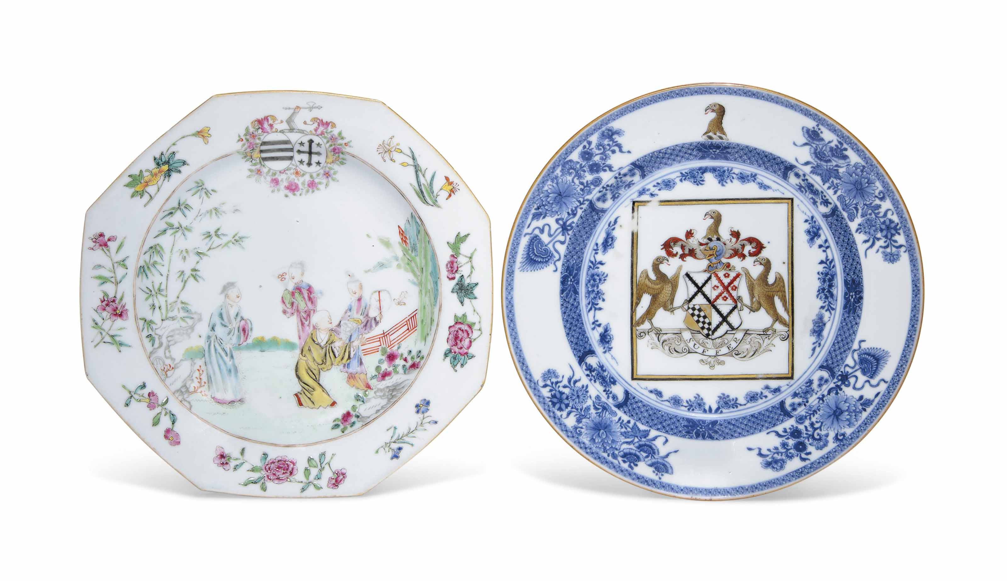 A FAMILLE ROSE ARMORAL PLATE AND A BLUE AND WHITE AND ENAMEL ARMORIAL DEEP PLATE