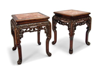 A PAIR OF MARBLE-INSET HONGMU