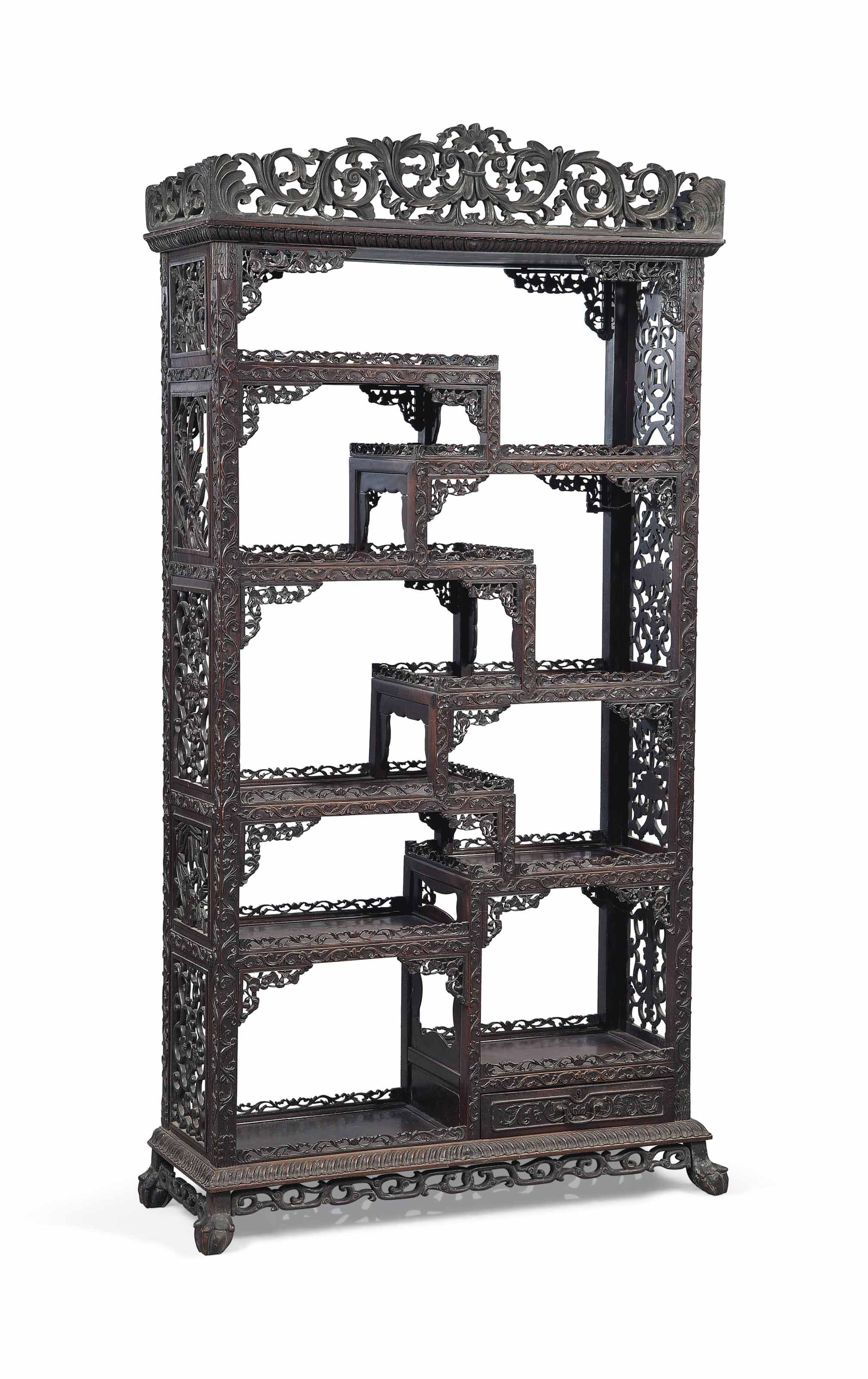 A HONGMU DISPLAY CABINET, DUOB
