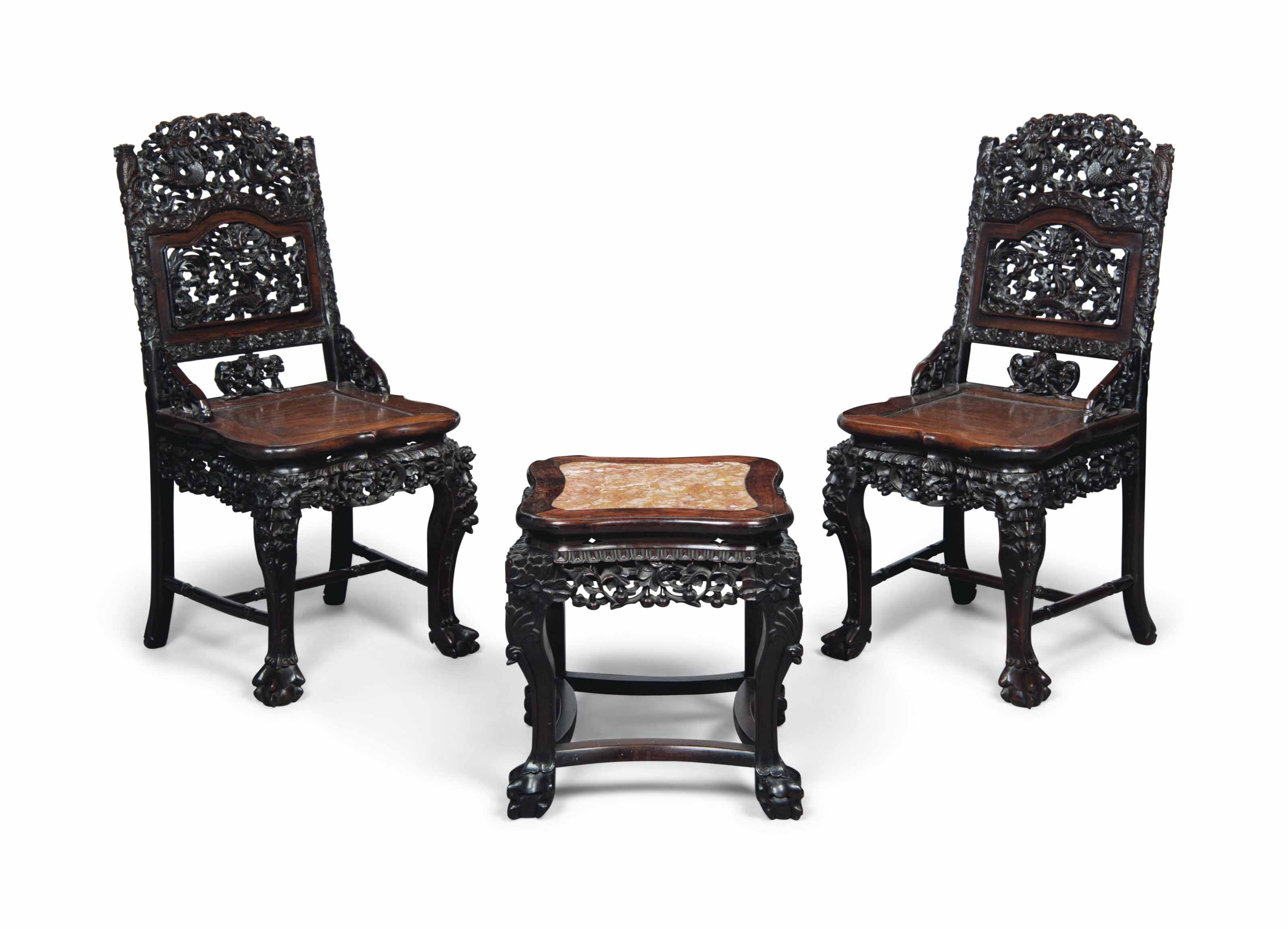 A PAIR OF HONGMU CHAIRS AND A