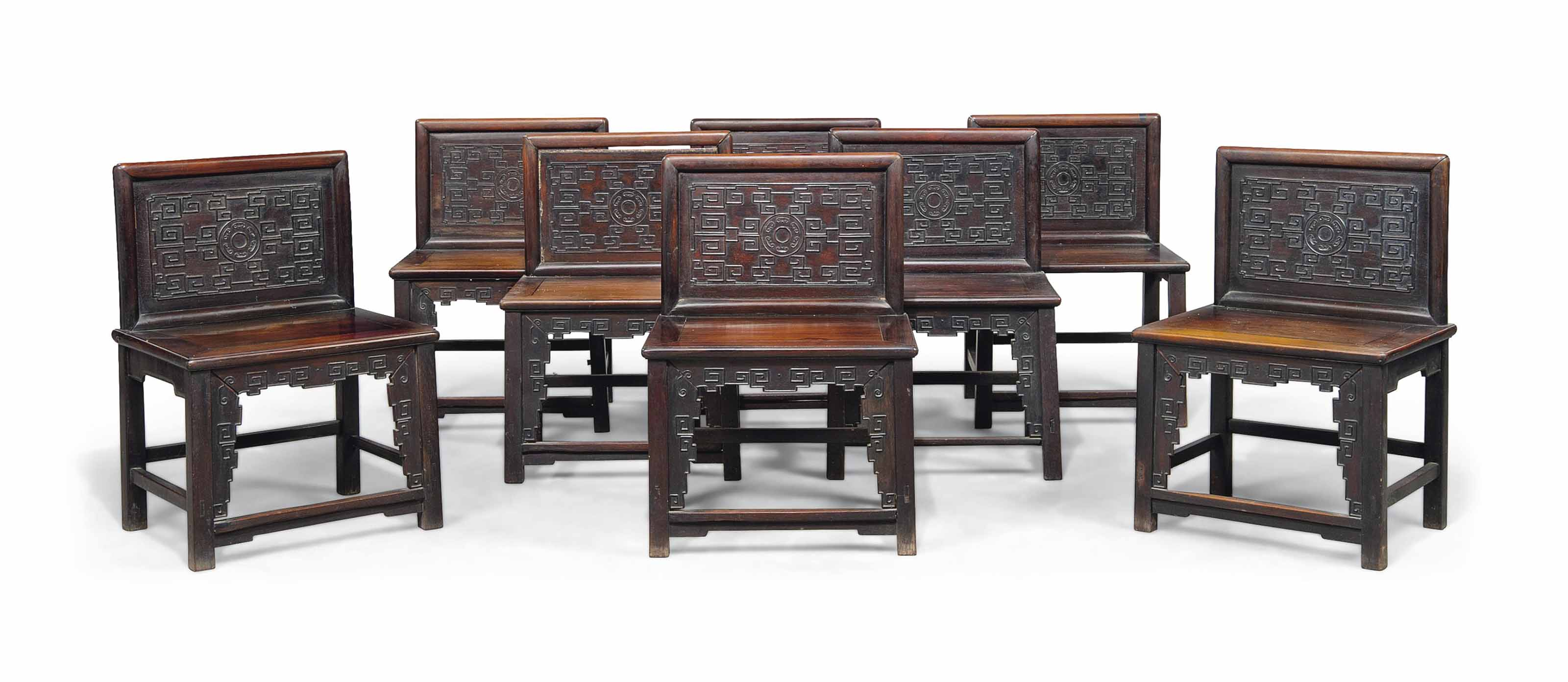 A SET OF EIGHT HONGMU CHAIRS