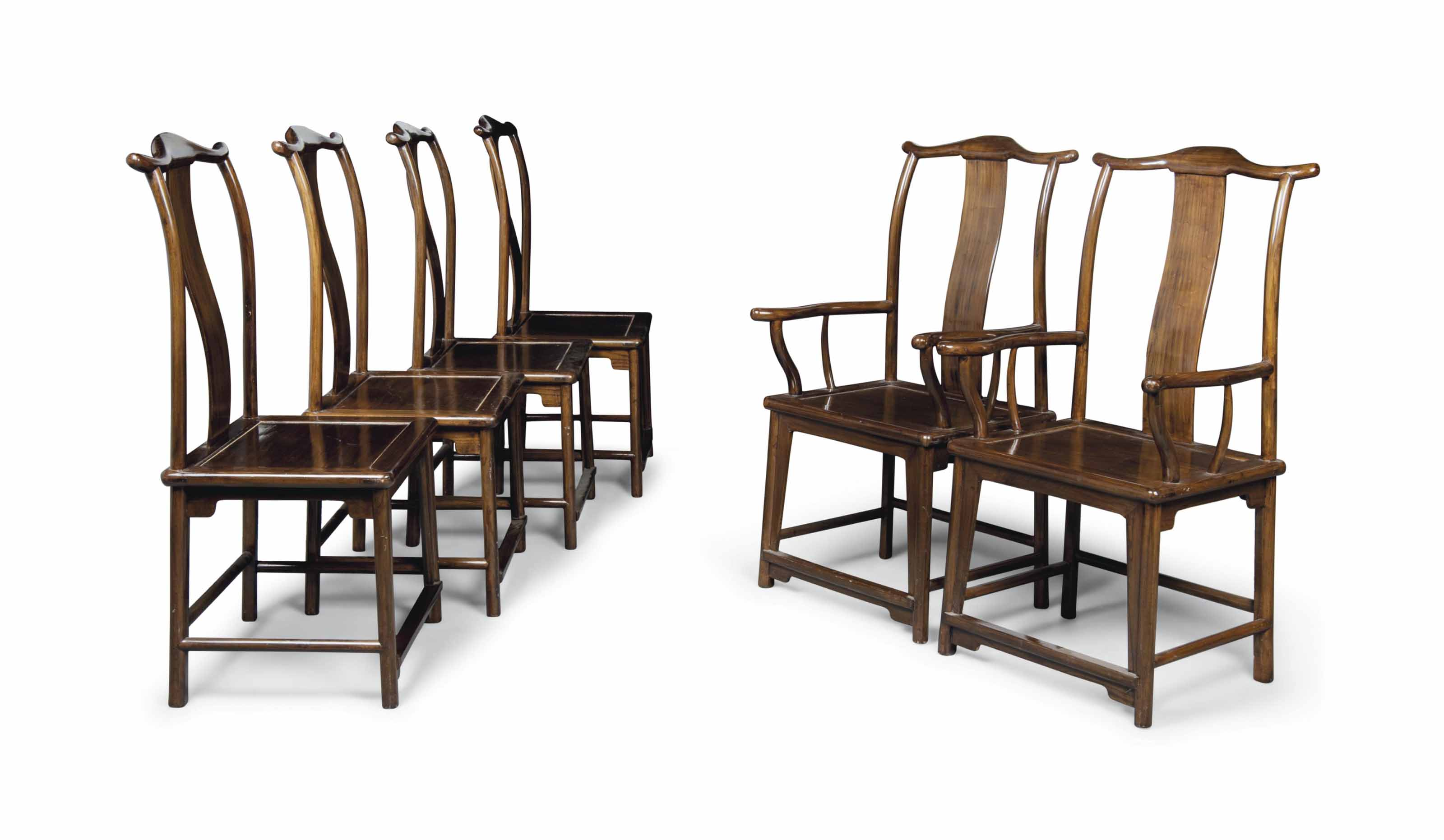 A SET OF SIX HARDWOOD CHAIRS