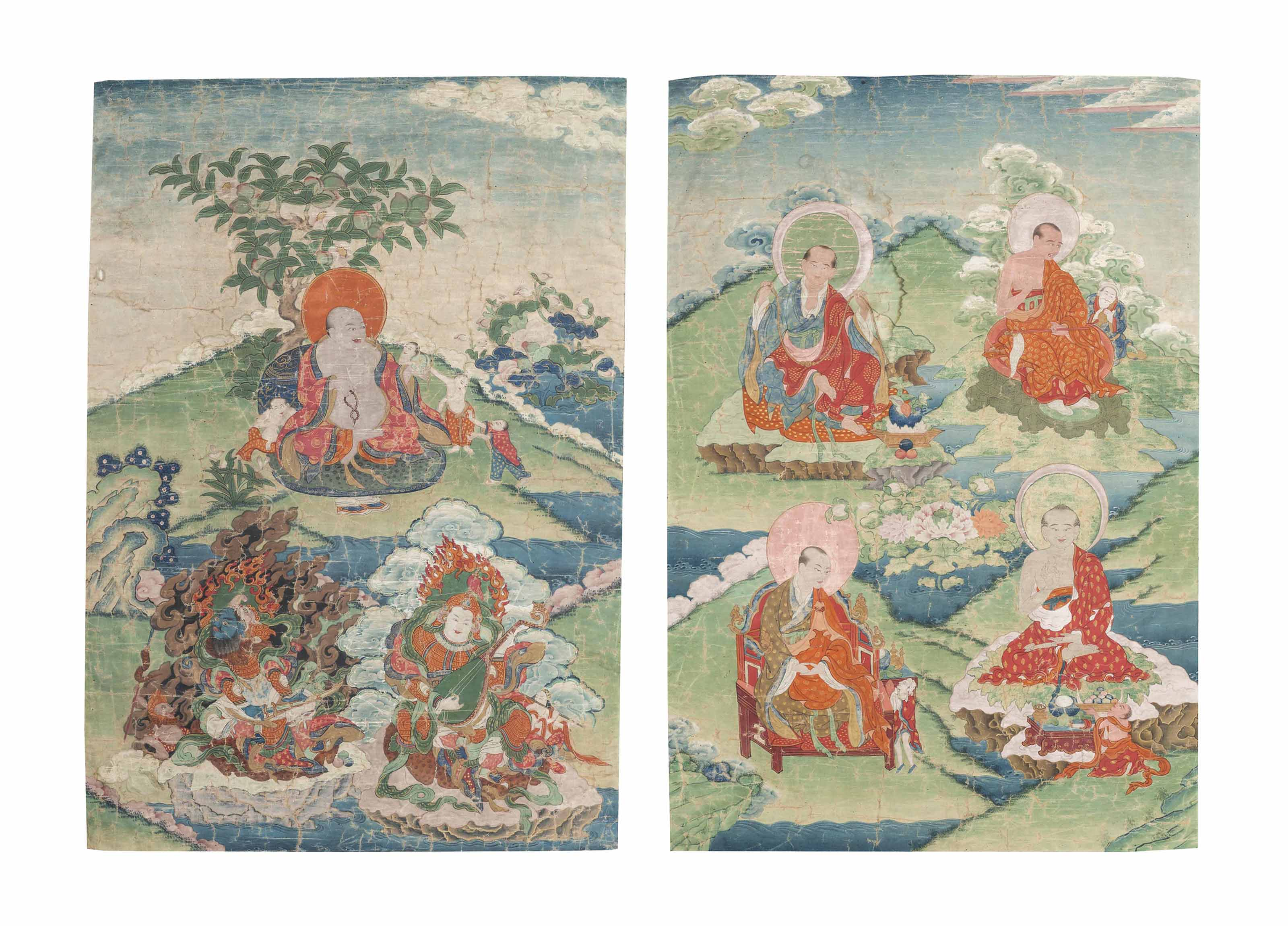 A THANGKA OF HVASHANG AND TWO