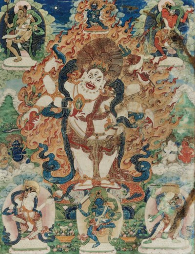 A THANGKA OF A WHITE MAHAKALA