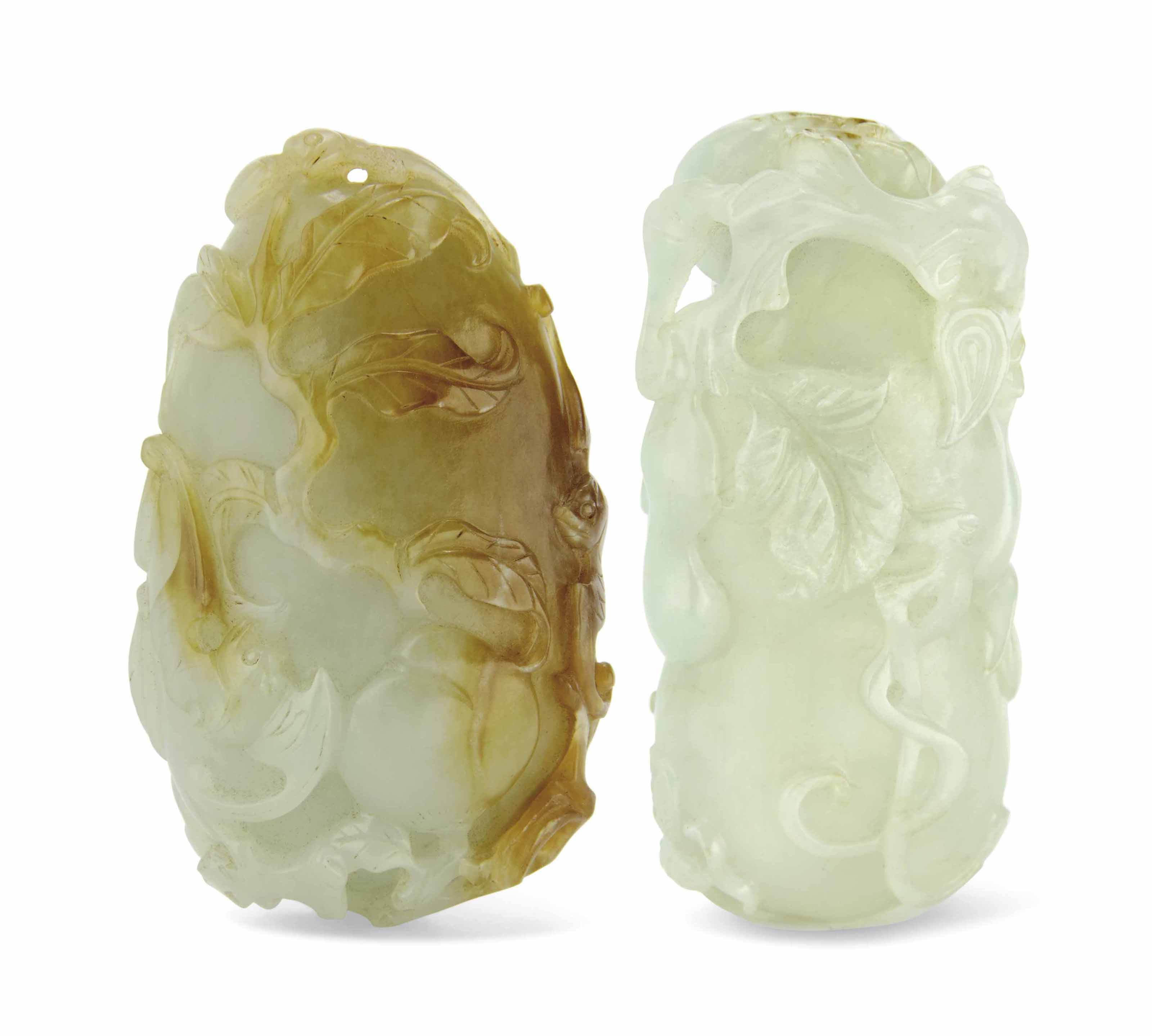 TWO WHITE AND RUSSET JADE CARVINGS