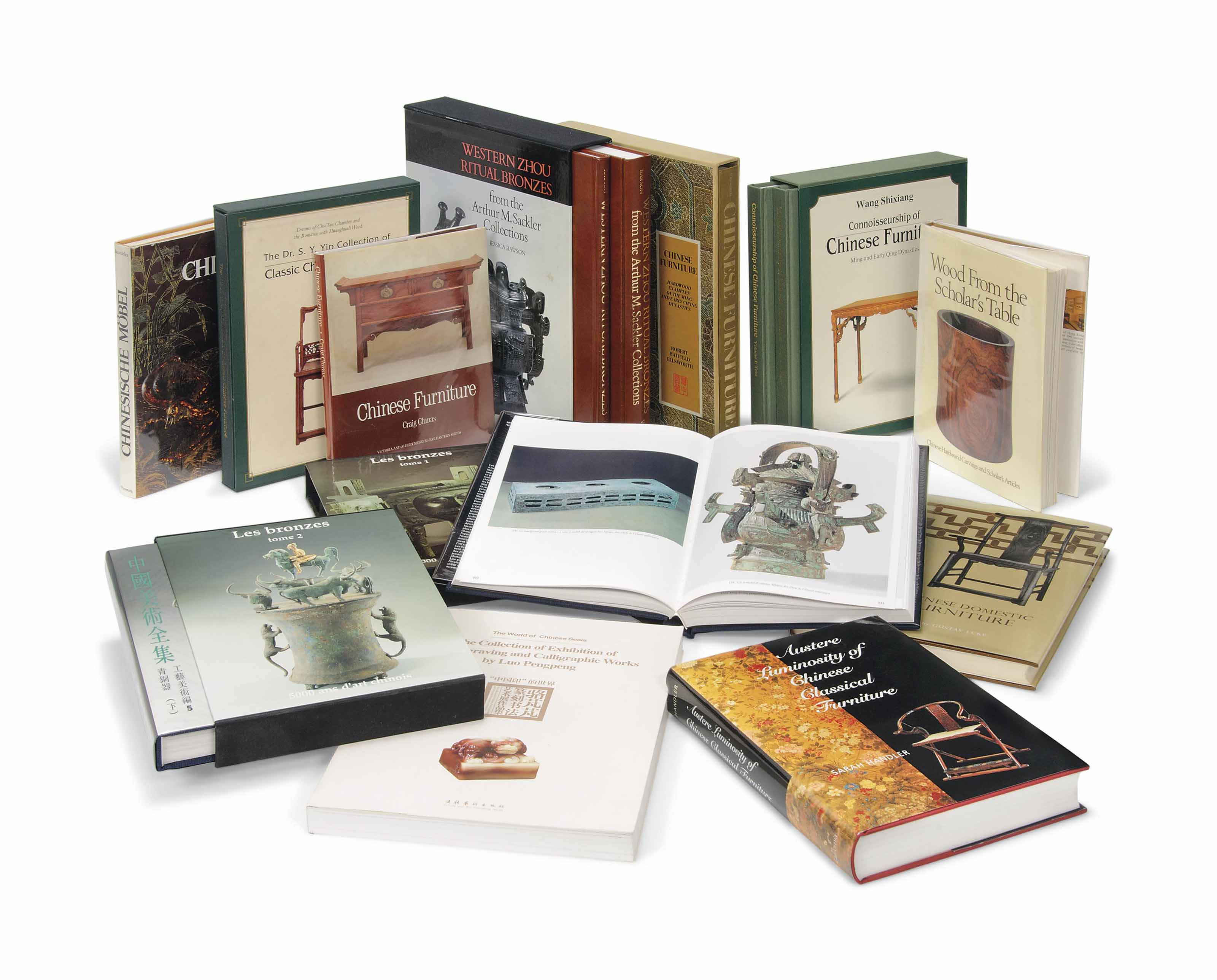 A GROUP OF CHINESE ART REFERENCE BOOKS ON FURNITURE, BRONZES...