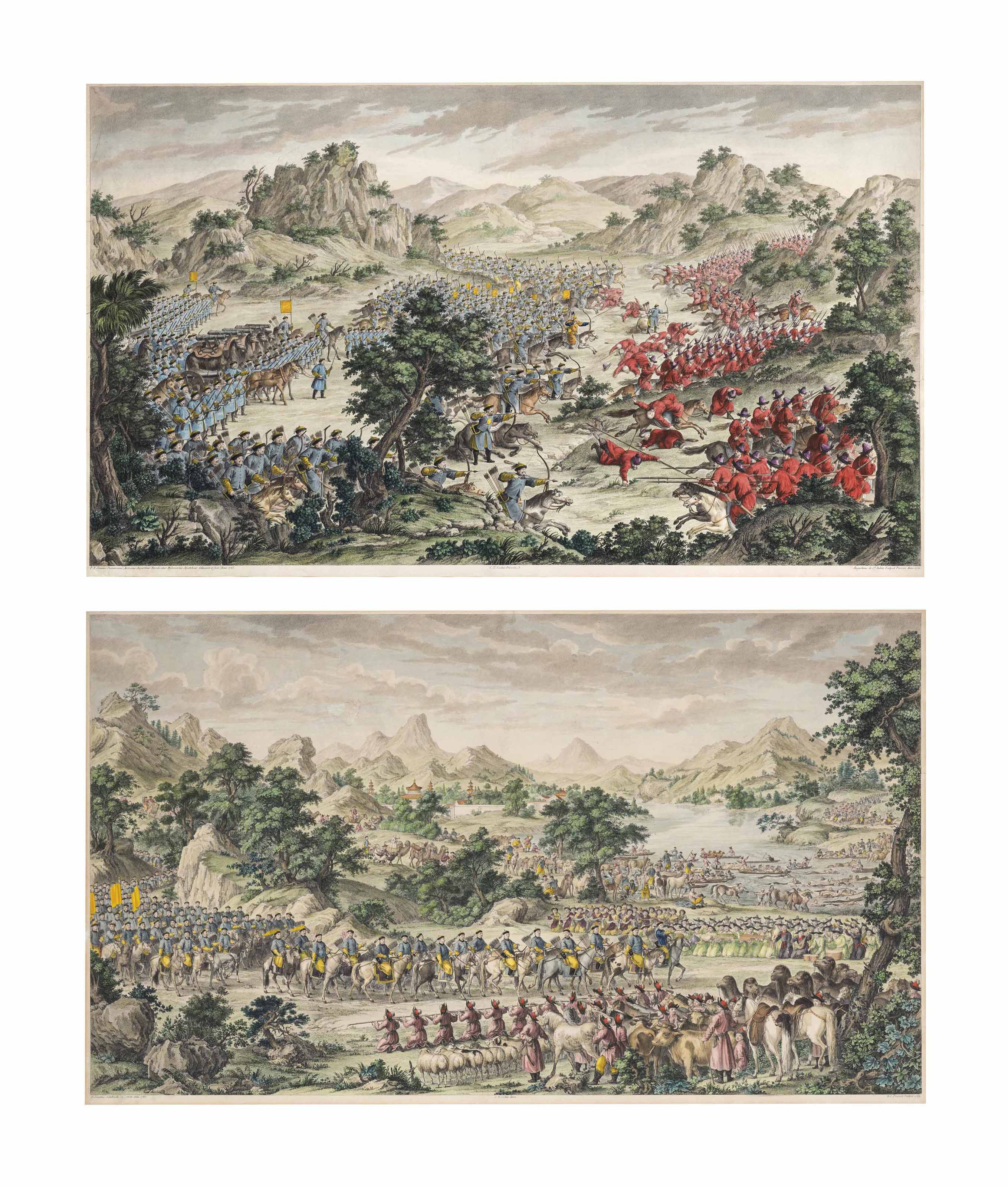 TWO COPPER-PLATE ENGRAVINGS OF EMPEROR QIANLONG'S CONQUEST
