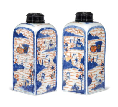 A PAIR OF IMARI TEA CANISTERS
