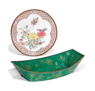 A PAINTED ENAMEL FAMILLE ROSE