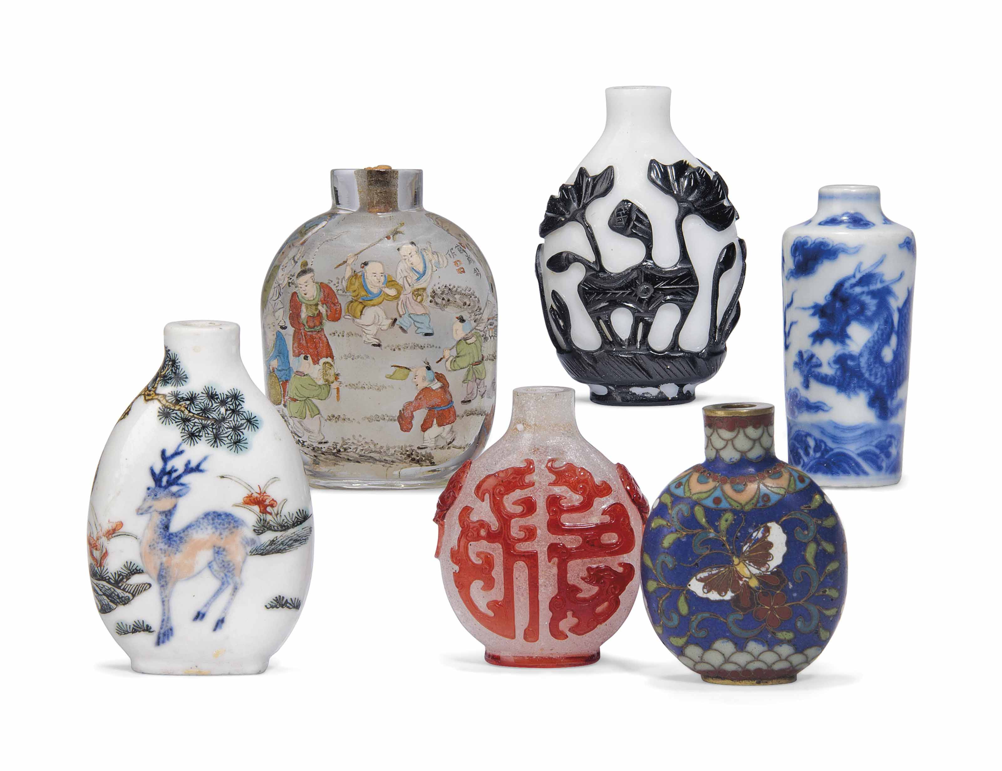 A GROUP OF SIX SNUFF BOTTLES