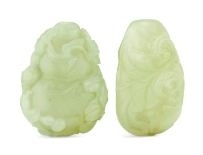 TWO PALE CELADON JADE SNUFF BO