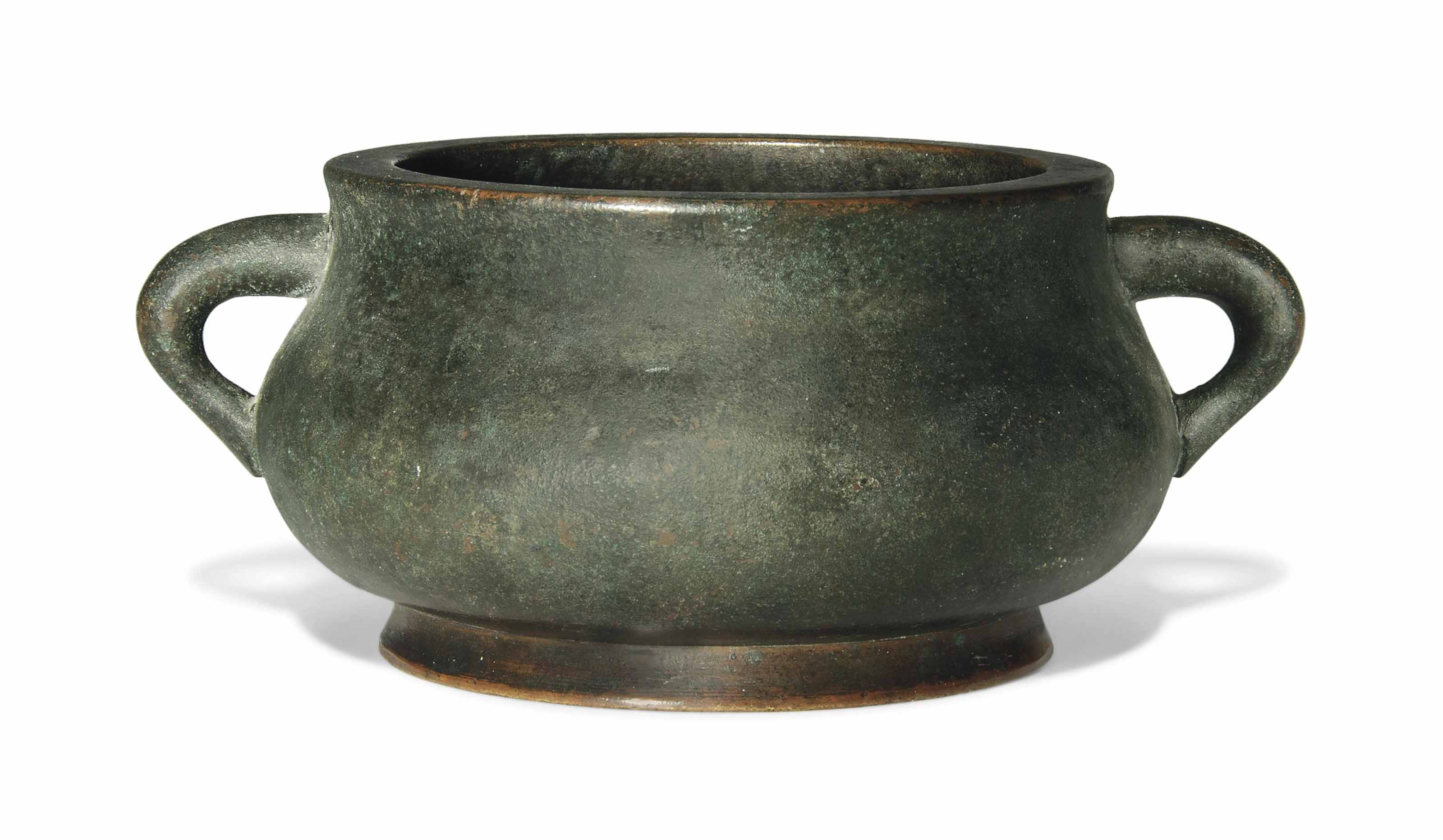 A BRONZE TWO-HANDLED CENSER