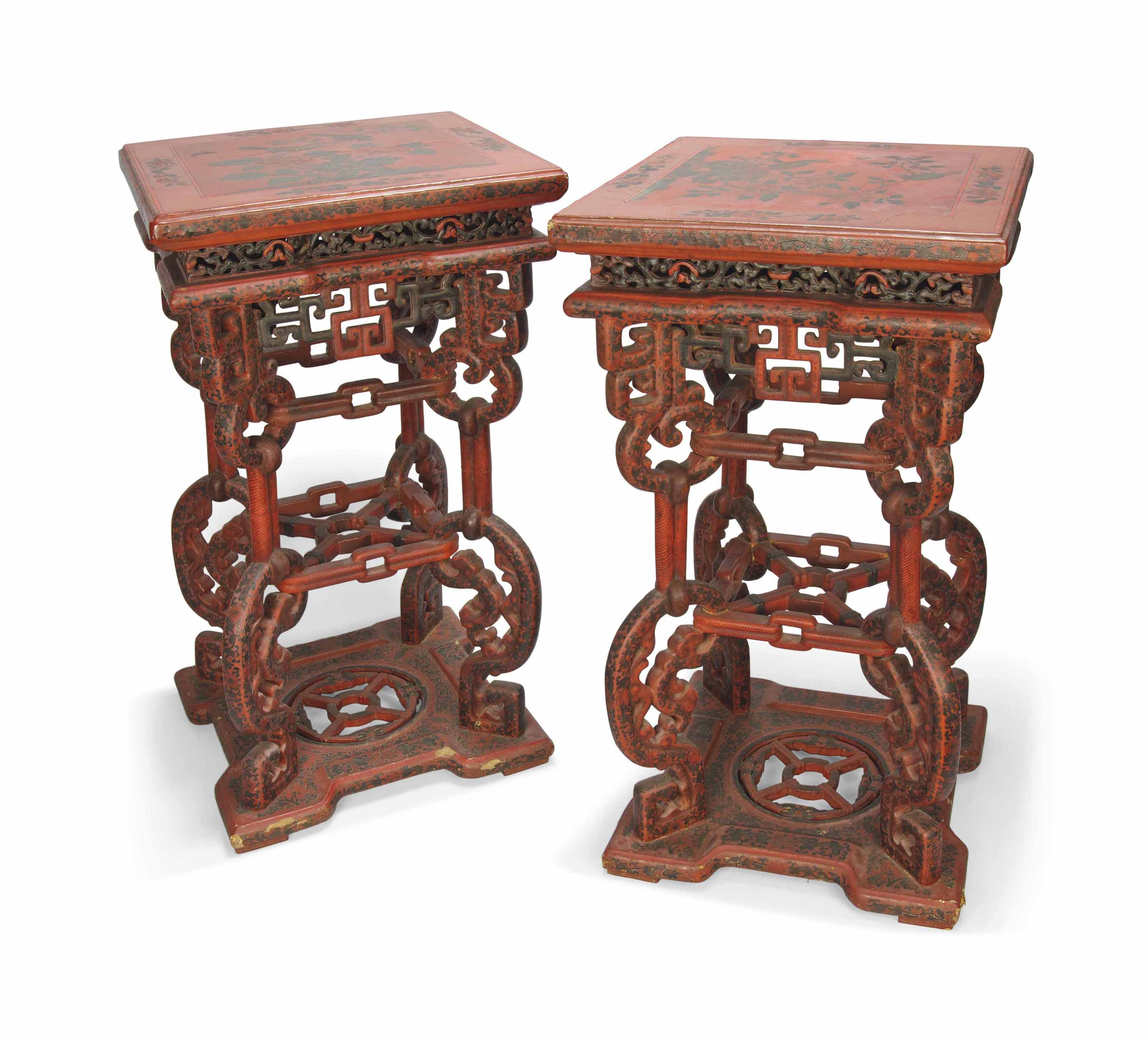 AN IMPRESSIVE PAIR OF POLYCHROME LACQUER STANDS