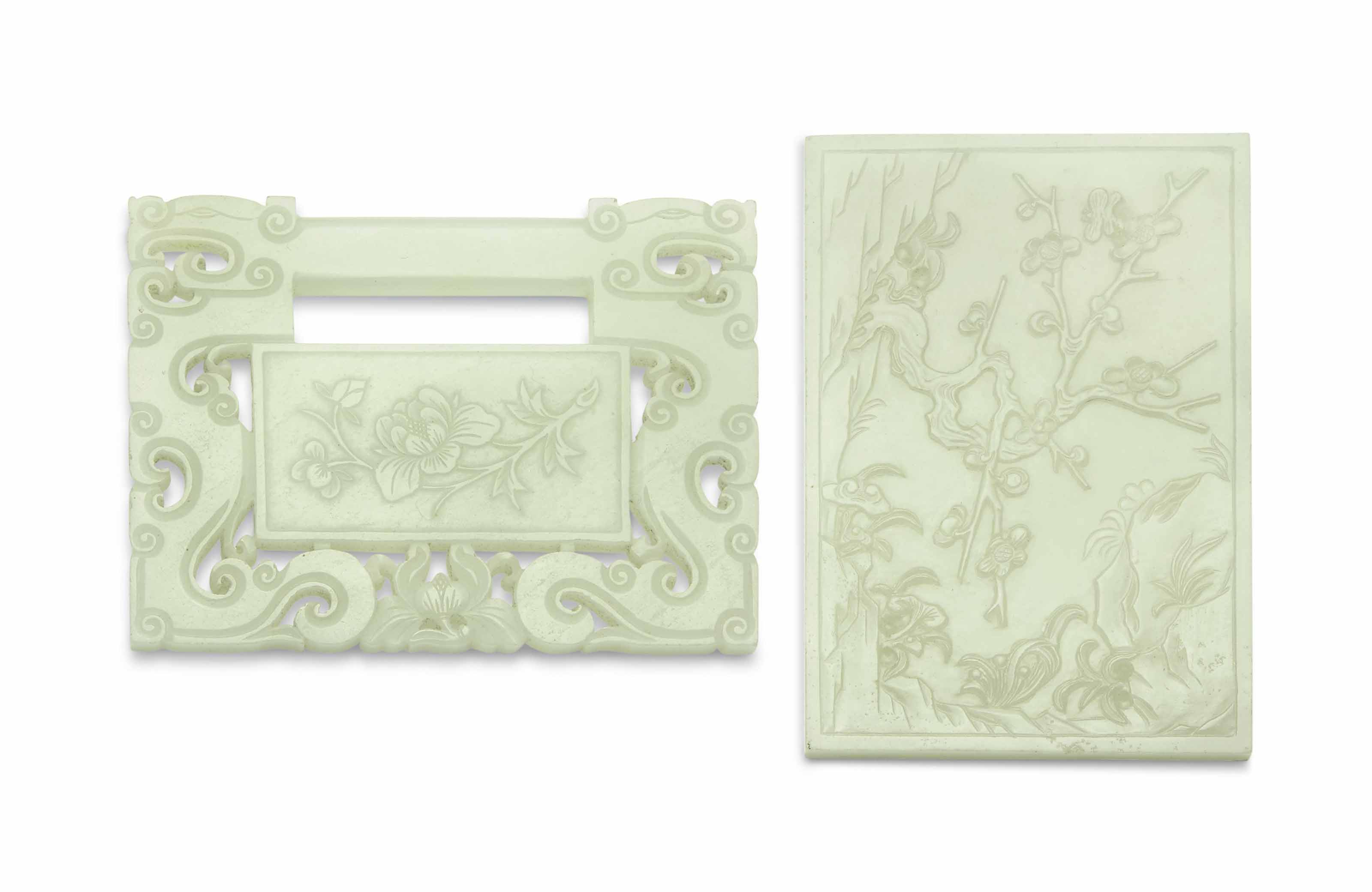 A WHITE JADE PLAQUE AND A PALE