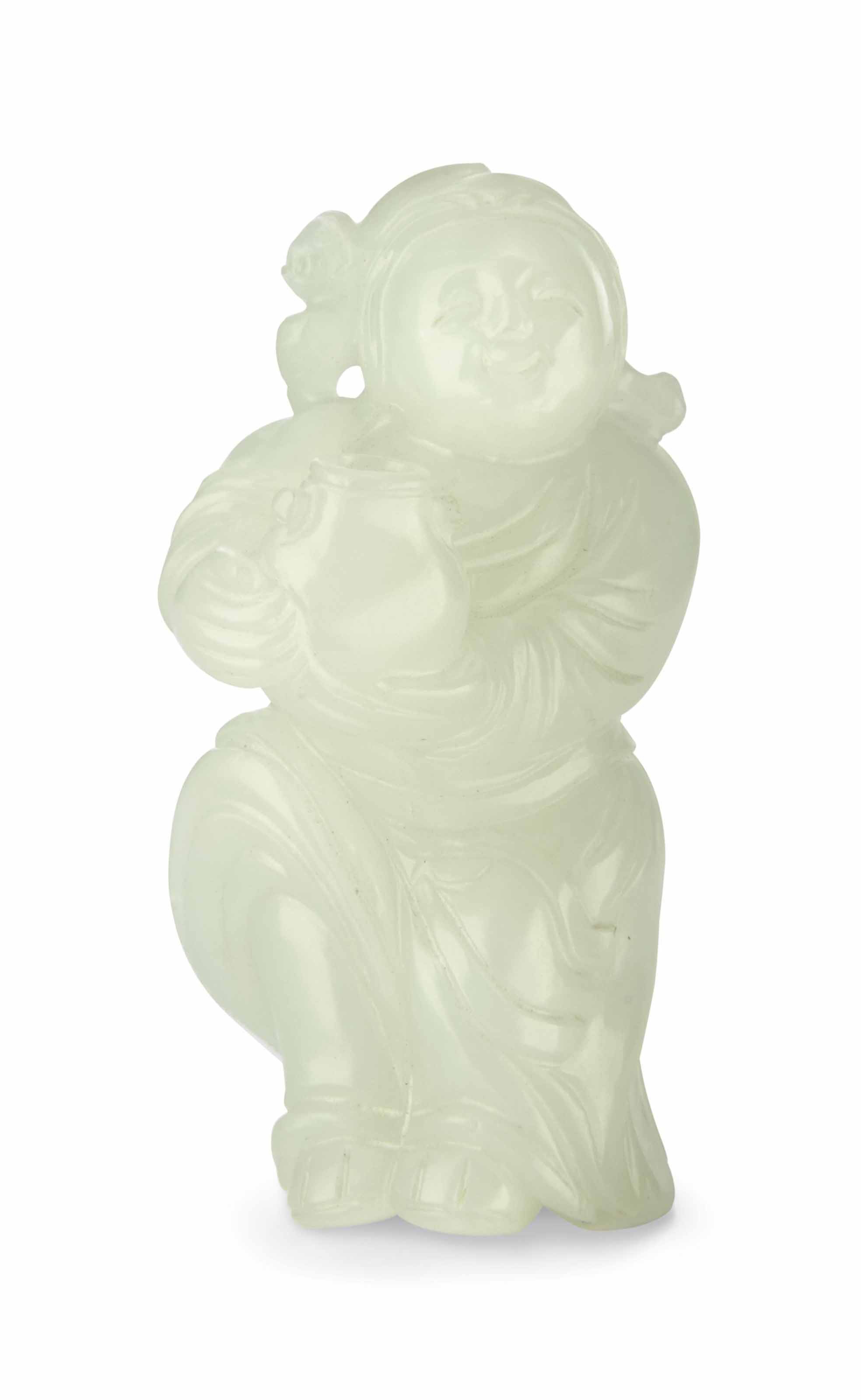 A SMALL WHITE JADE 'BOY AND BA
