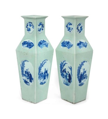 A PAIR OF CELADON-GROUND BLUE