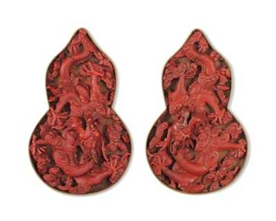 A PAIR OF CINNABAR LACQUER DOU