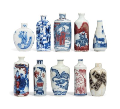 A GROUP OF TEN PORCELAIN SNUFF