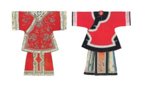 TWO RED-GROUND DAMASK LADY'S INFORMAL ROBES AND TWO APRON SK